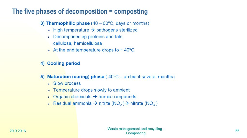 The five phases of decomposition = composting
