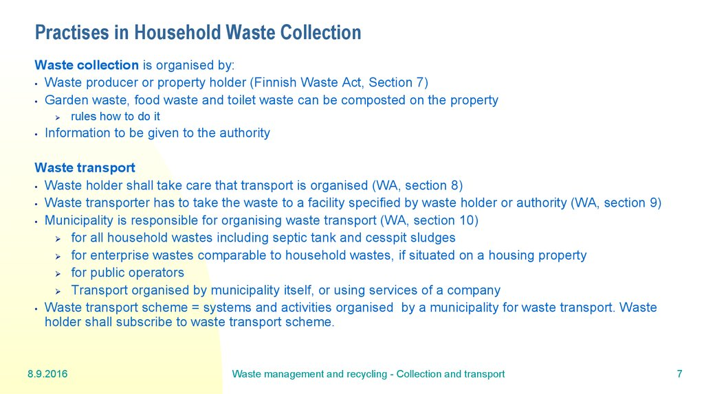 Practises in Household Waste Collection