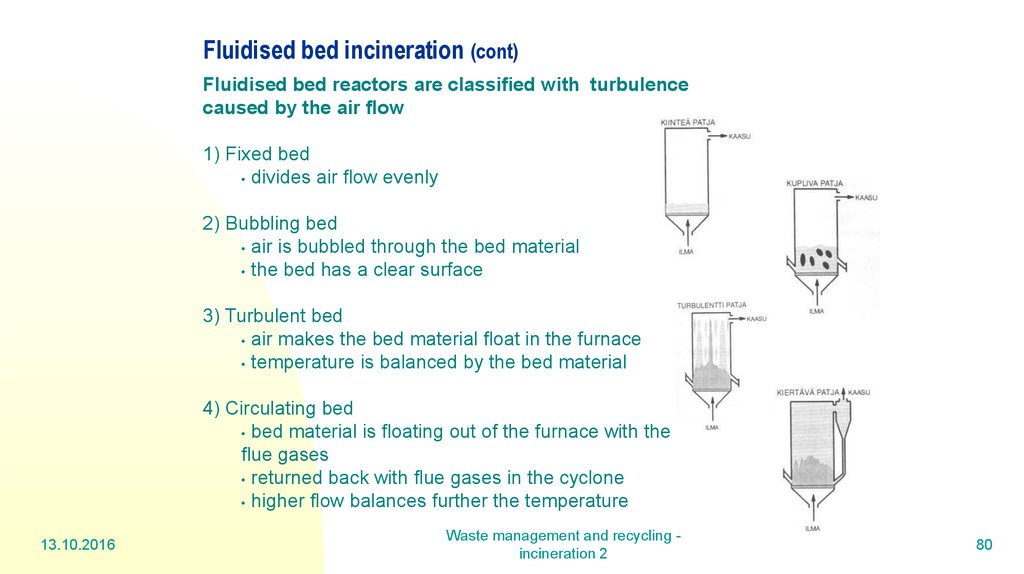 Fluidised bed incineration (cont)