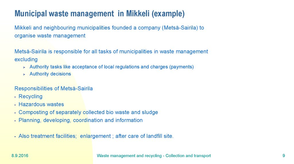 Municipal waste management in Mikkeli (example)