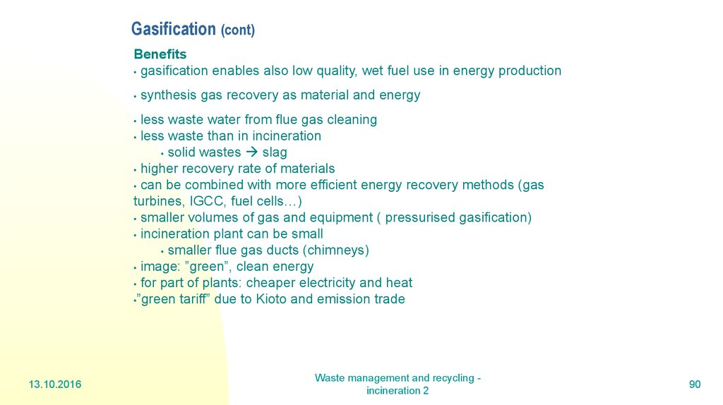 Gasification (cont)