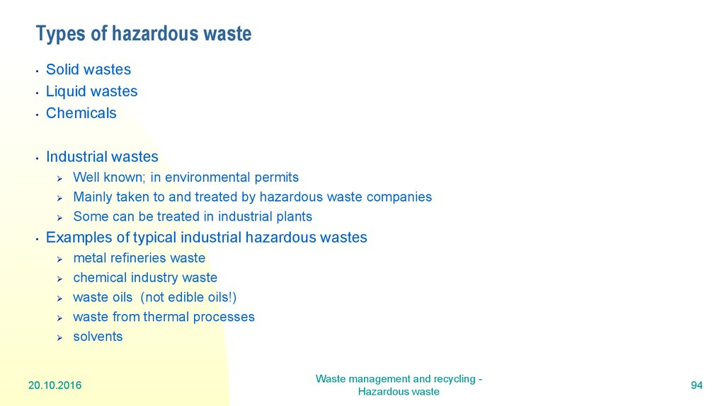 Types of hazardous waste