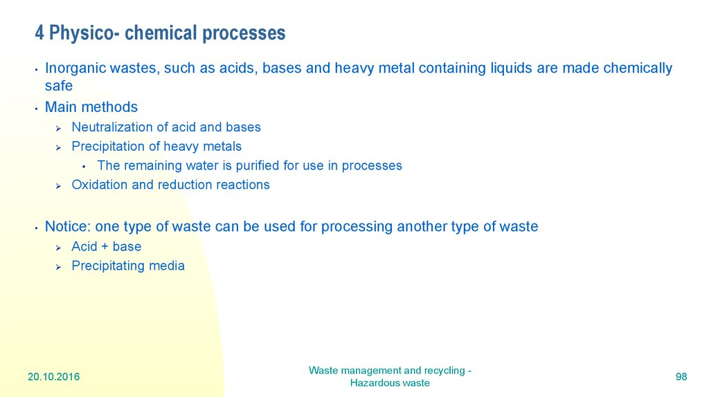 4 Physico- chemical processes