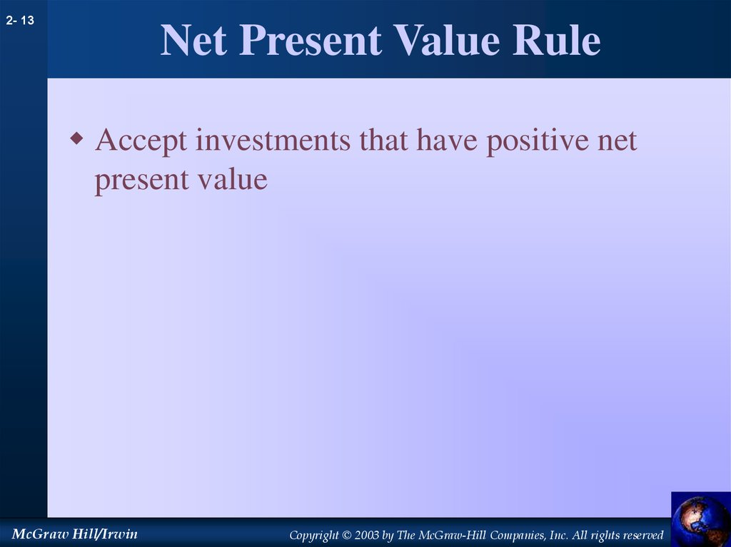 Net Present Value Rule