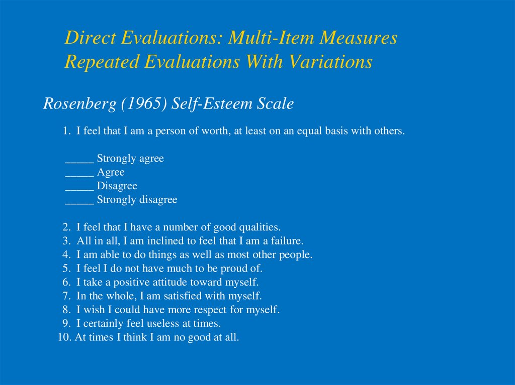 Direct Evaluations: Multi-Item Measures Repeated Evaluations With Variations