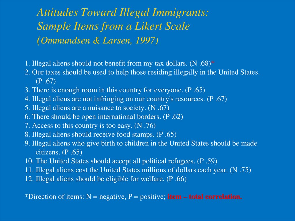 Attitudes Toward Illegal Immigrants: Sample Items from a Likert Scale (Ommundsen & Larsen, 1997)