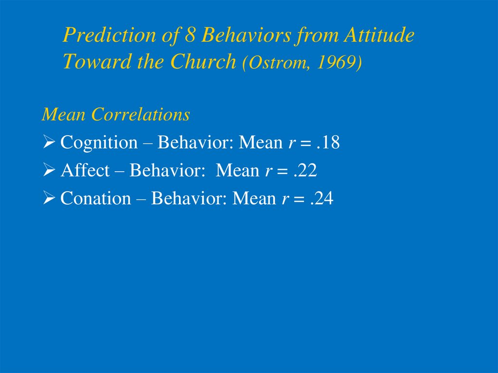 Prediction of 8 Behaviors from Attitude Toward the Church (Ostrom, 1969)