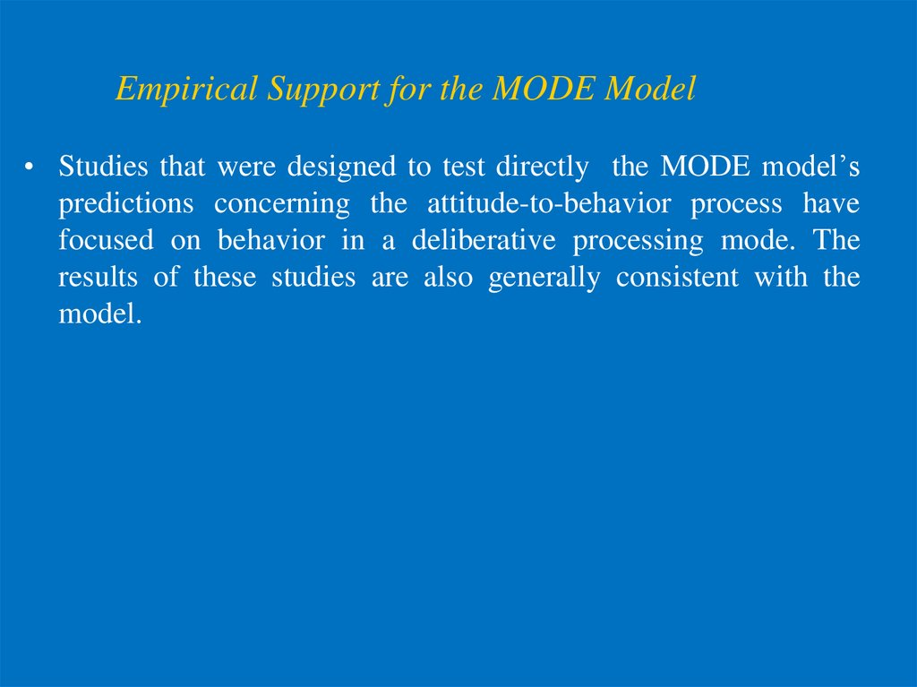 Empirical Support for the MODE Model