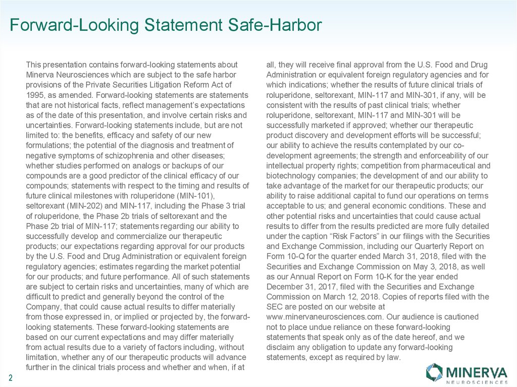 Forward-Looking Statement Safe-Harbor