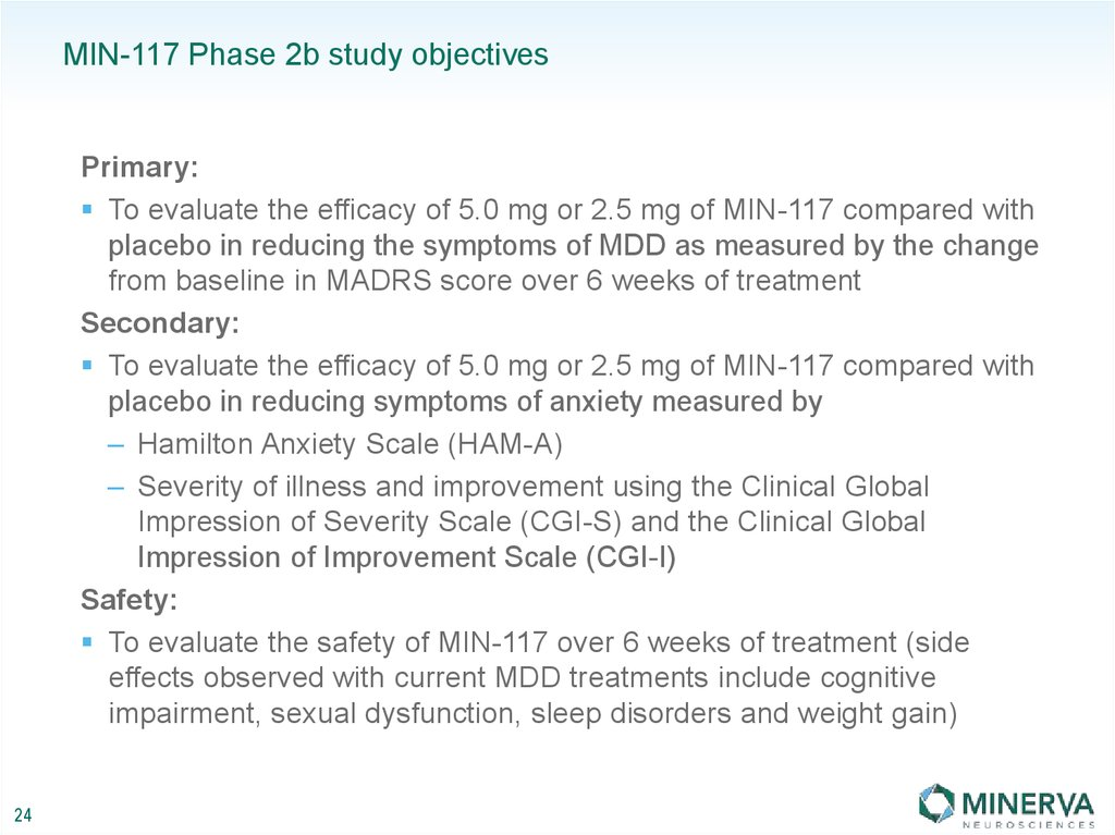 MIN-117 Phase 2b study objectives