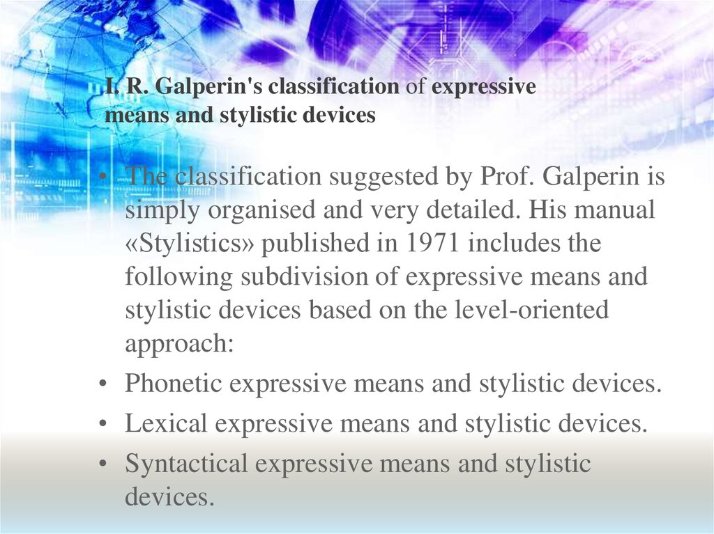 I. R. Galperin's classification of expressive means and stylistic devices