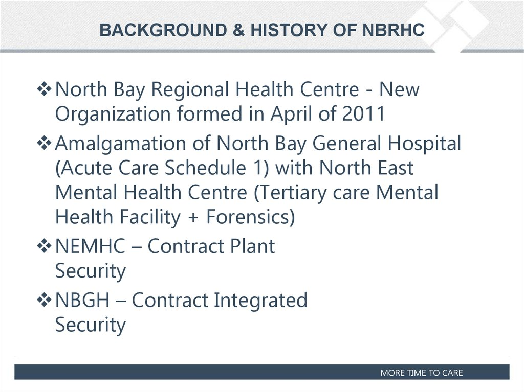 BACKGROUND & HISTORY OF NBRHC