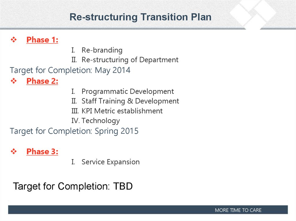 Re-structuring Transition Plan