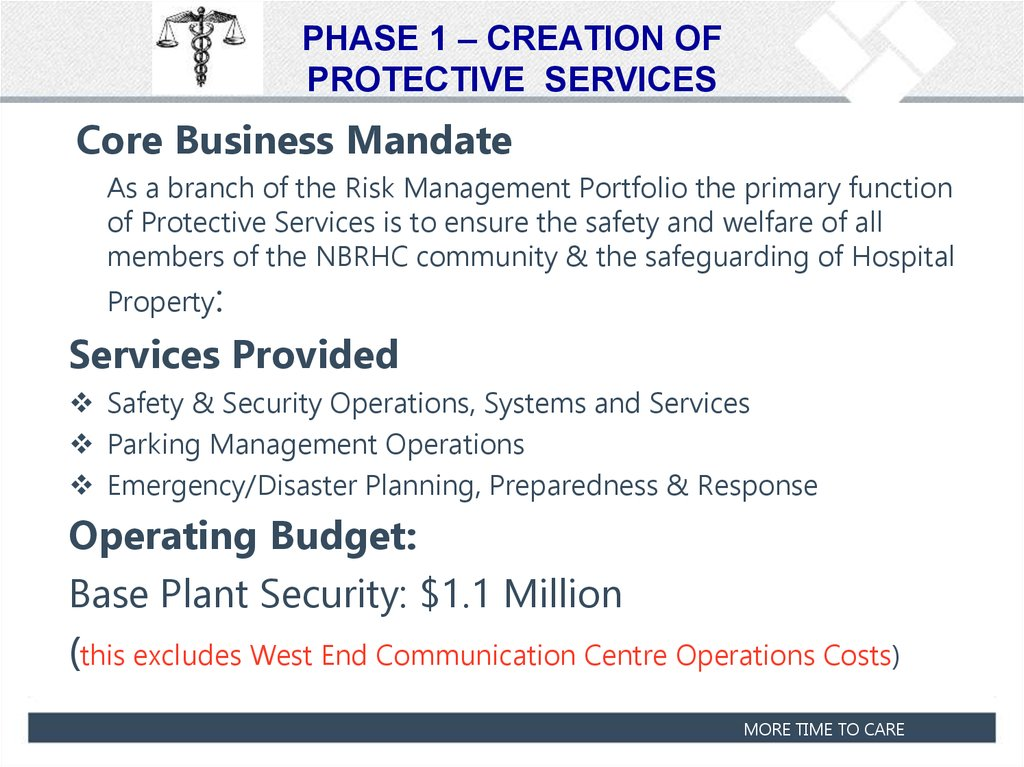PHASE 1 – CREATION OF PROTECTIVE SERVICES