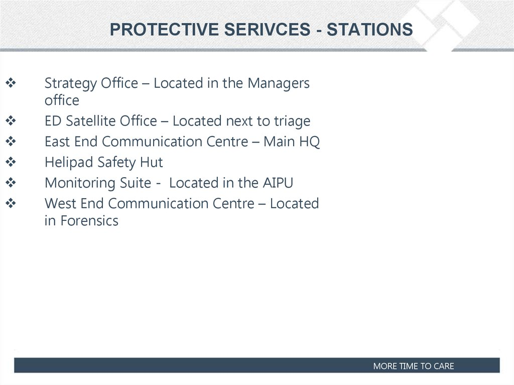PROTECTIVE SERIVCES - STATIONS