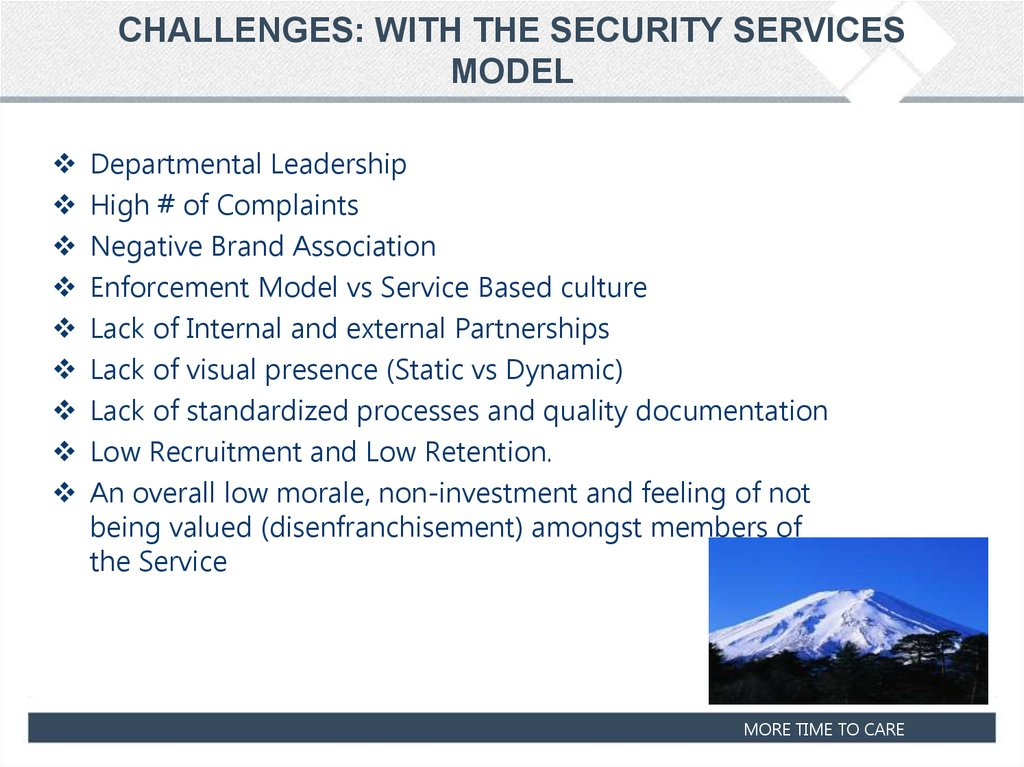 CHALLENGES: WITH THE SECURITY SERVICES MODEL
