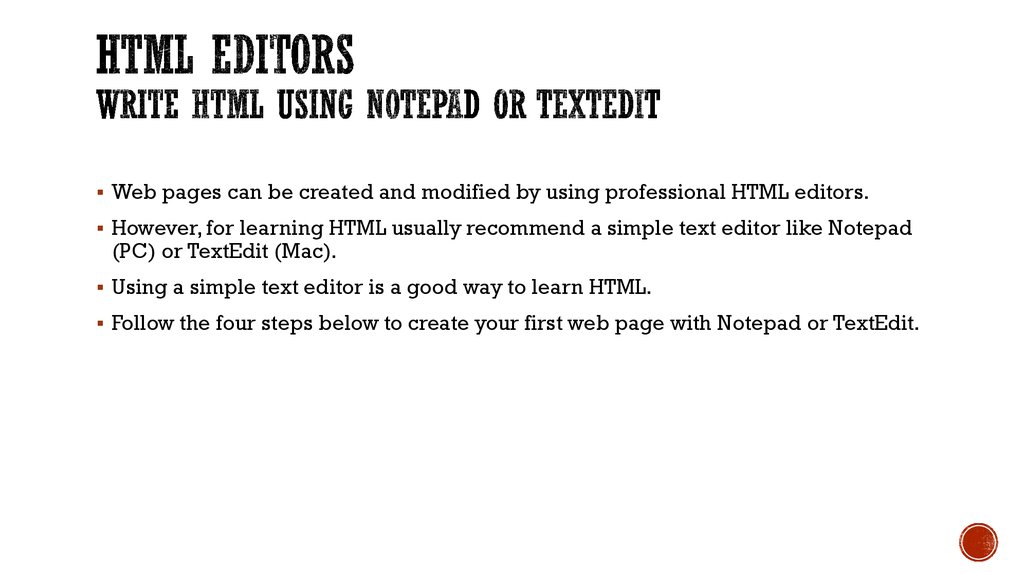 HTML Editors Write HTML Using Notepad or TextEdit