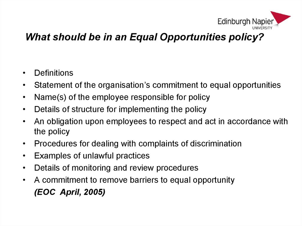 what should be in an equal opportunities policy