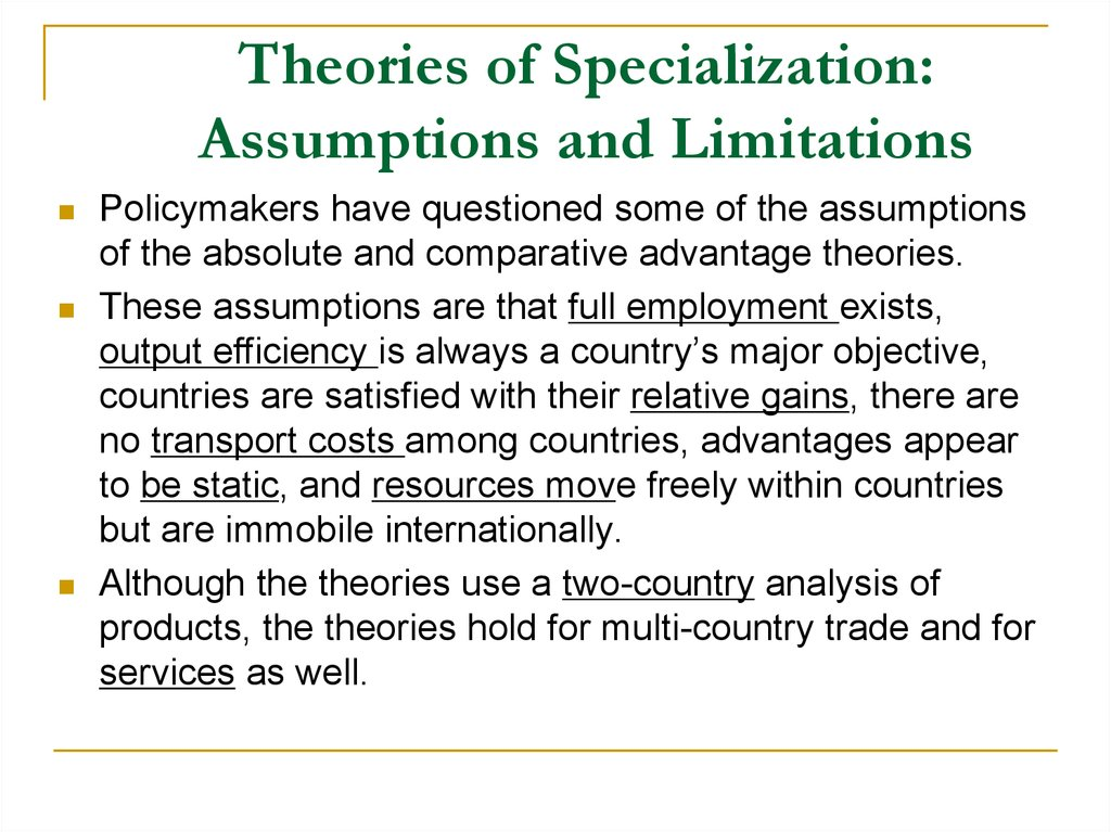limitations of absolute advantage theory
