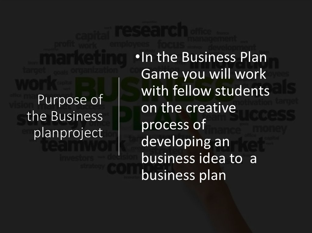 Purpose of the Business planproject