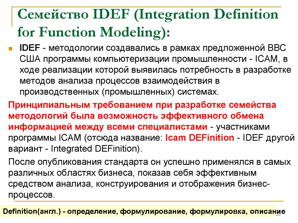 Семейство IDEF (Integration Definition for Function Modeling):