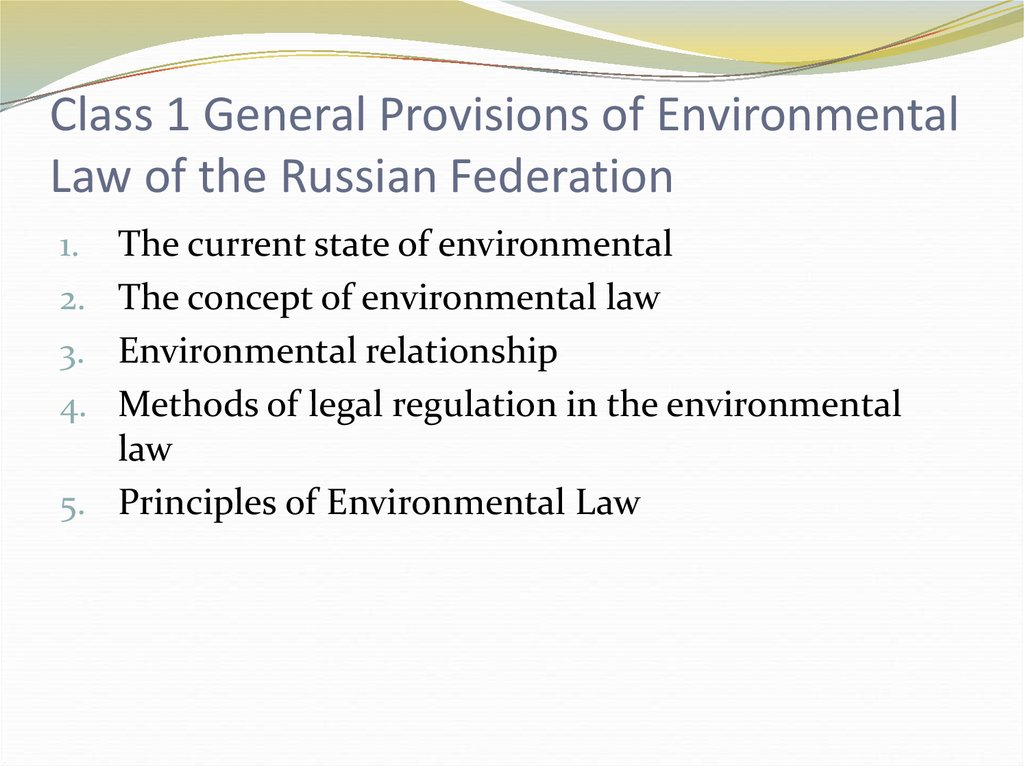 Class 1 General Provisions of Environmental Law of the Russian Federation