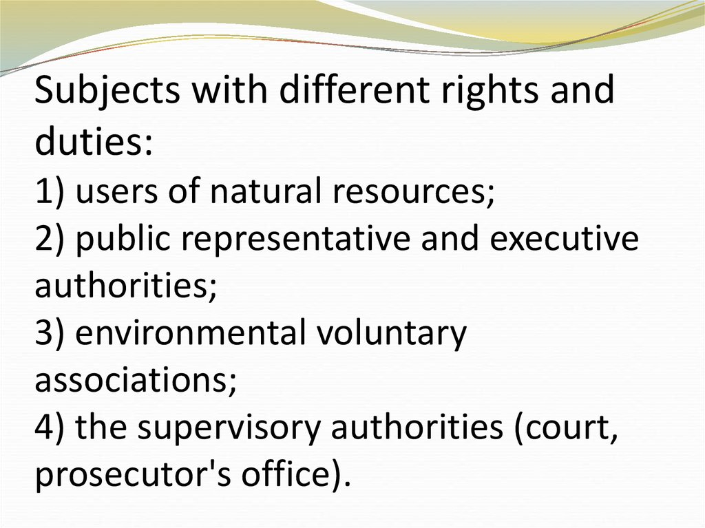 Subjects with different rights and duties: 1) users of natural resources; 2) public representative and executive authorities;