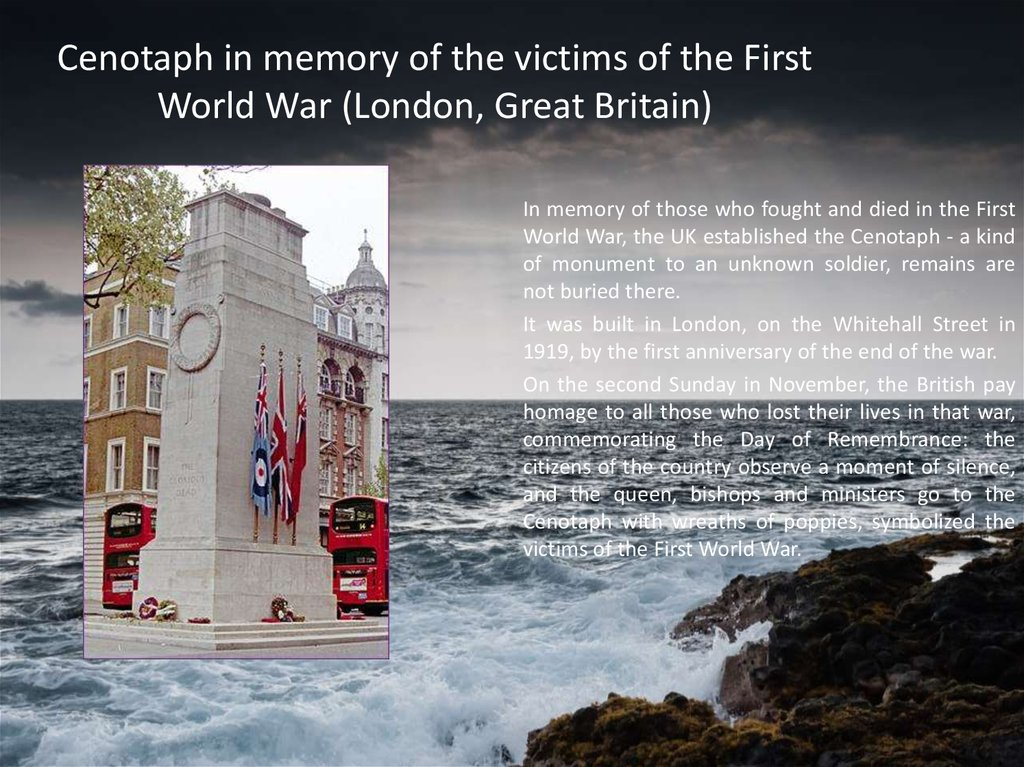 Cenotaph in memory of the victims of the First World War (London, Great Britain)