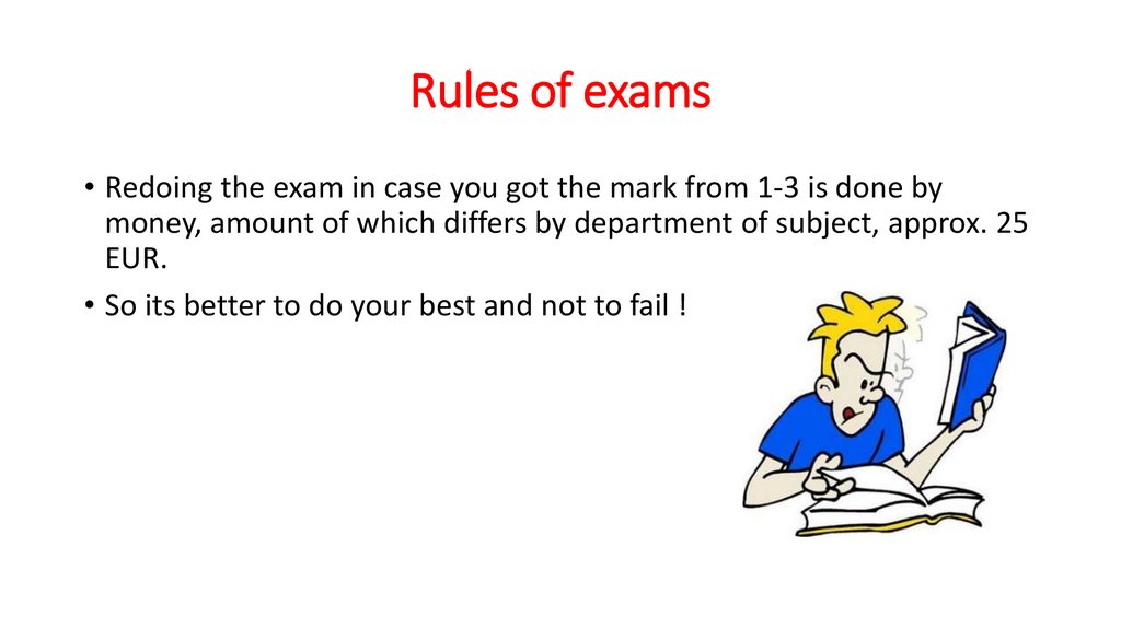 Rules of exams