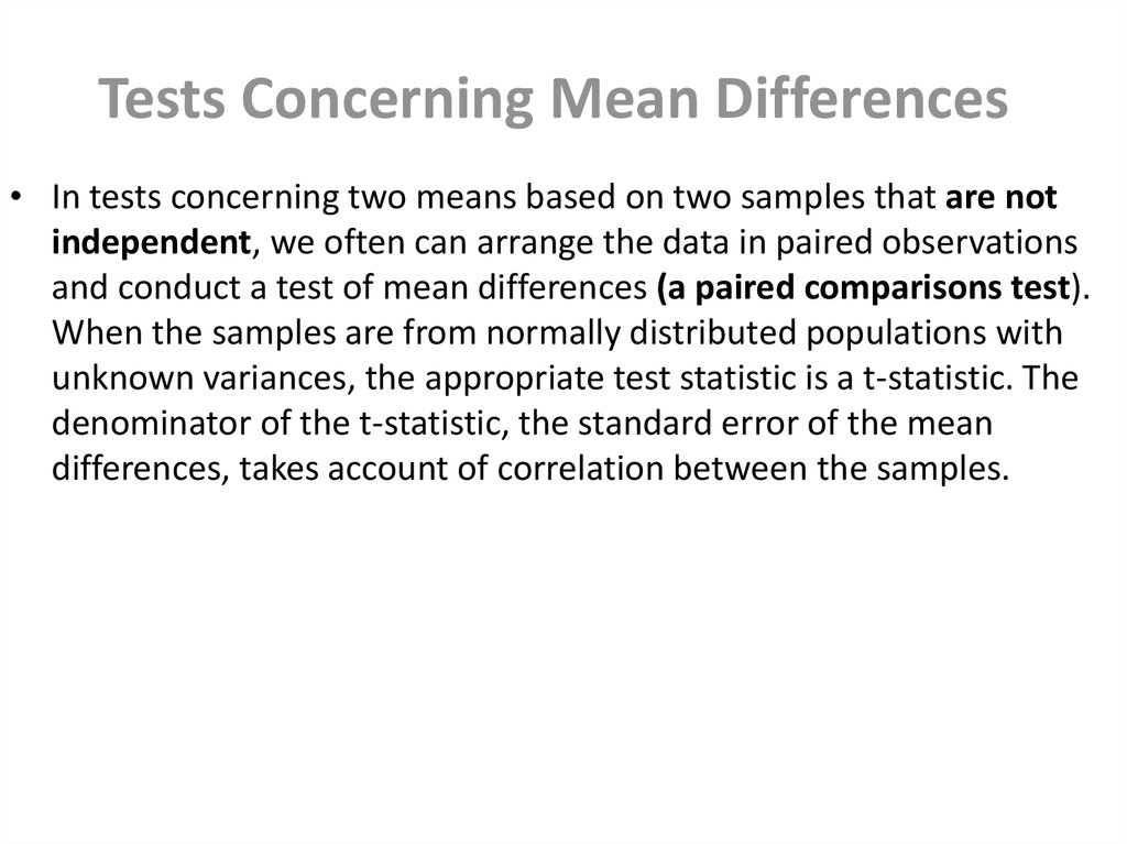 Tests Concerning Mean Differences