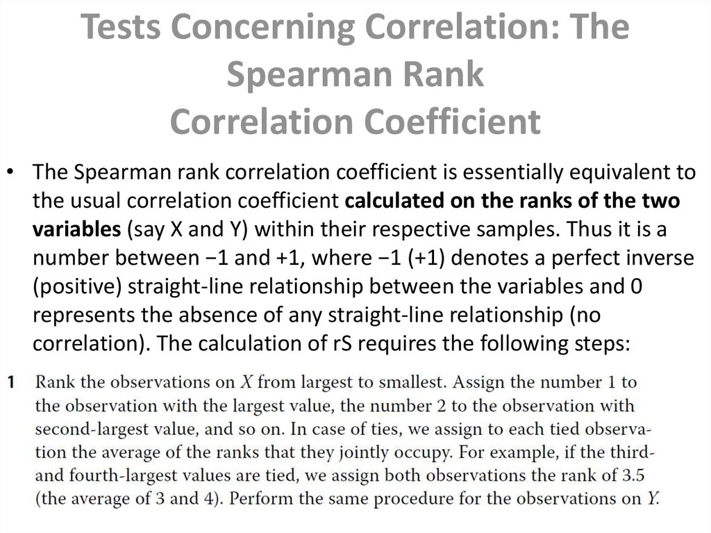Tests Concerning Correlation: The Spearman Rank Correlation Coefficient