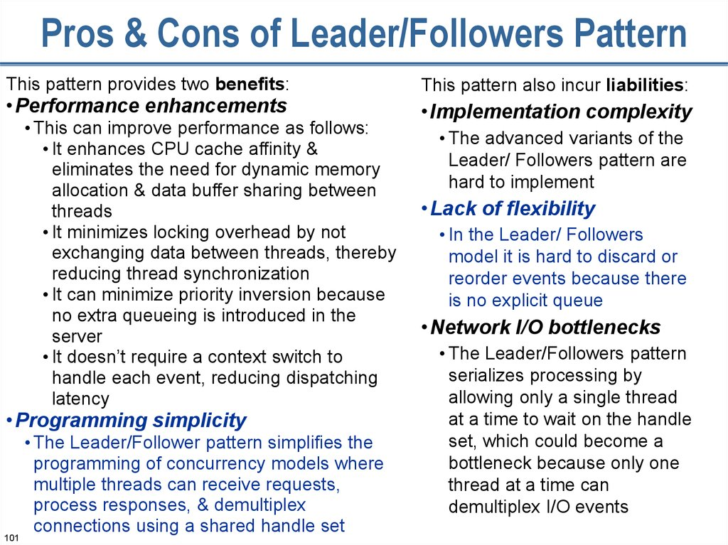 Pros & Cons of Leader/Followers Pattern