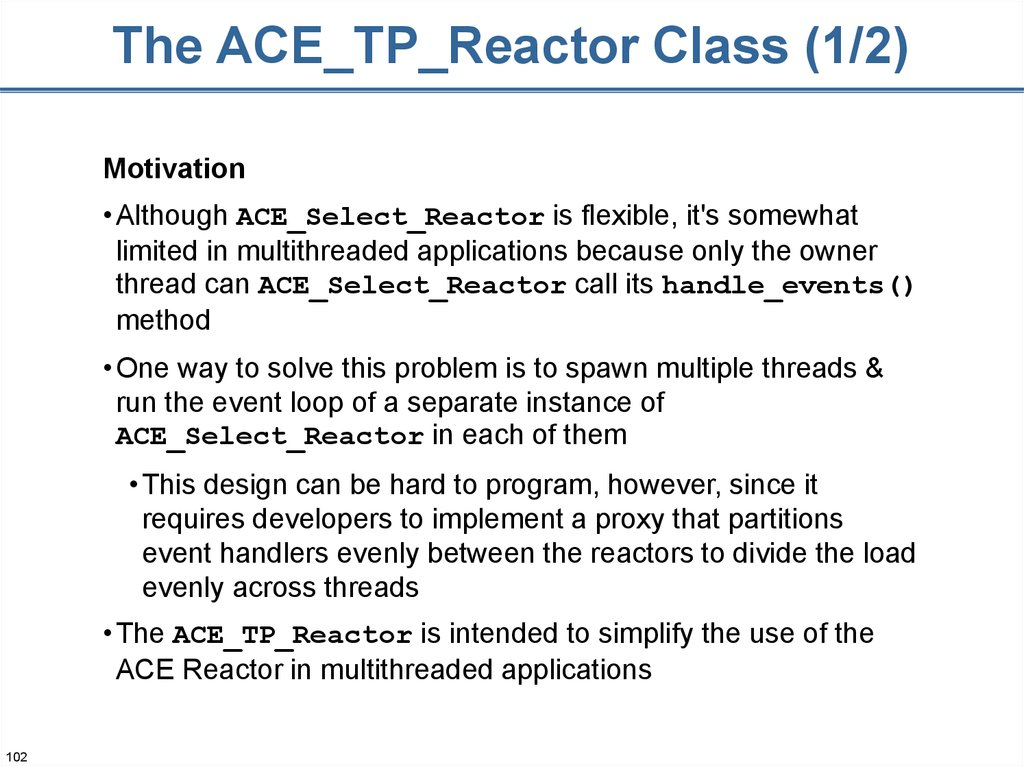 The ACE_TP_Reactor Class (1/2)