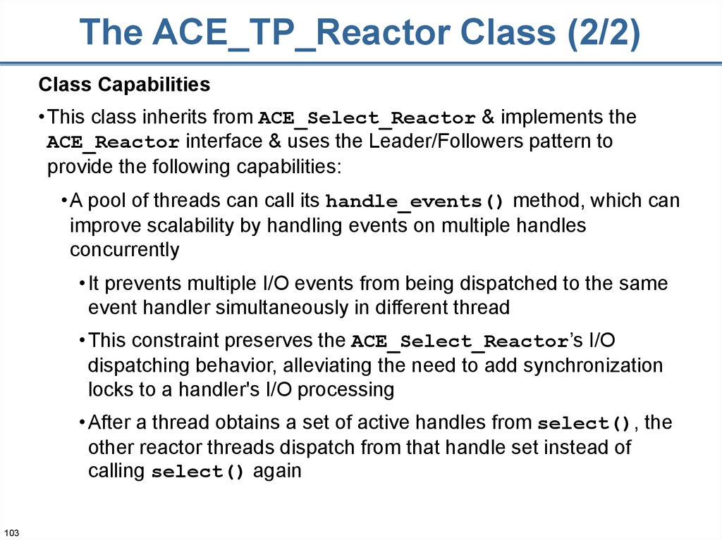 The ACE_TP_Reactor Class (2/2)