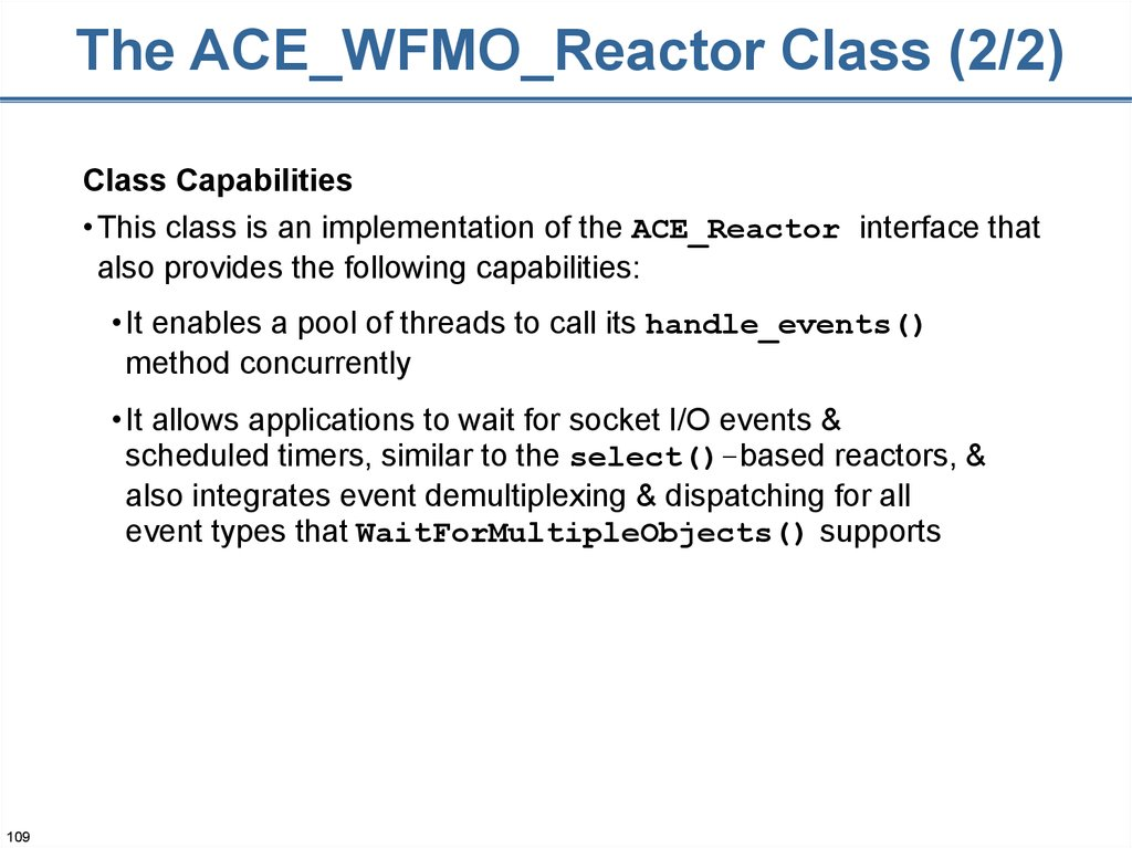 The ACE_WFMO_Reactor Class (2/2)