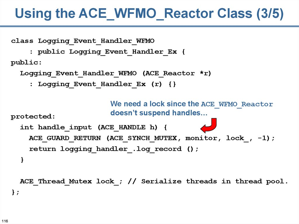 Using the ACE_WFMO_Reactor Class (3/5)