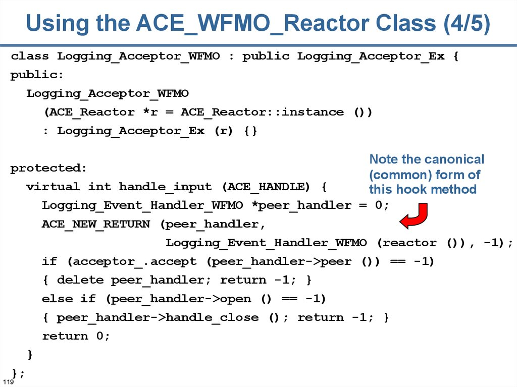 Using the ACE_WFMO_Reactor Class (4/5)
