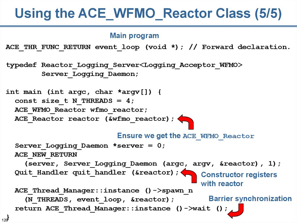Using the ACE_WFMO_Reactor Class (5/5)