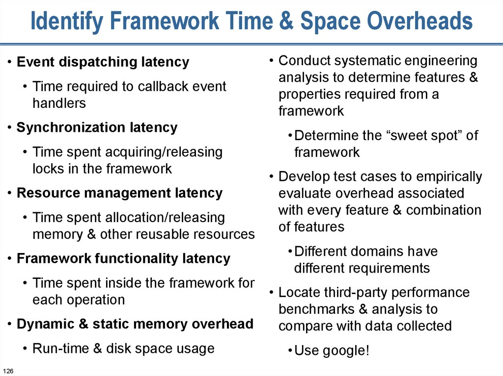 Identify Framework Time & Space Overheads