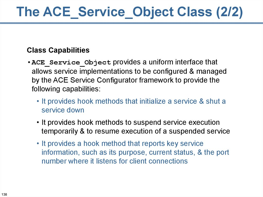 The ACE_Service_Object Class (2/2)