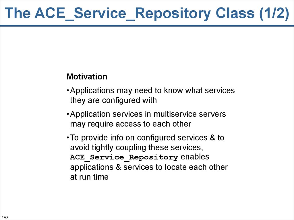 The ACE_Service_Repository Class (1/2)
