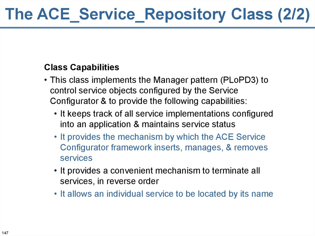 The ACE_Service_Repository Class (2/2)
