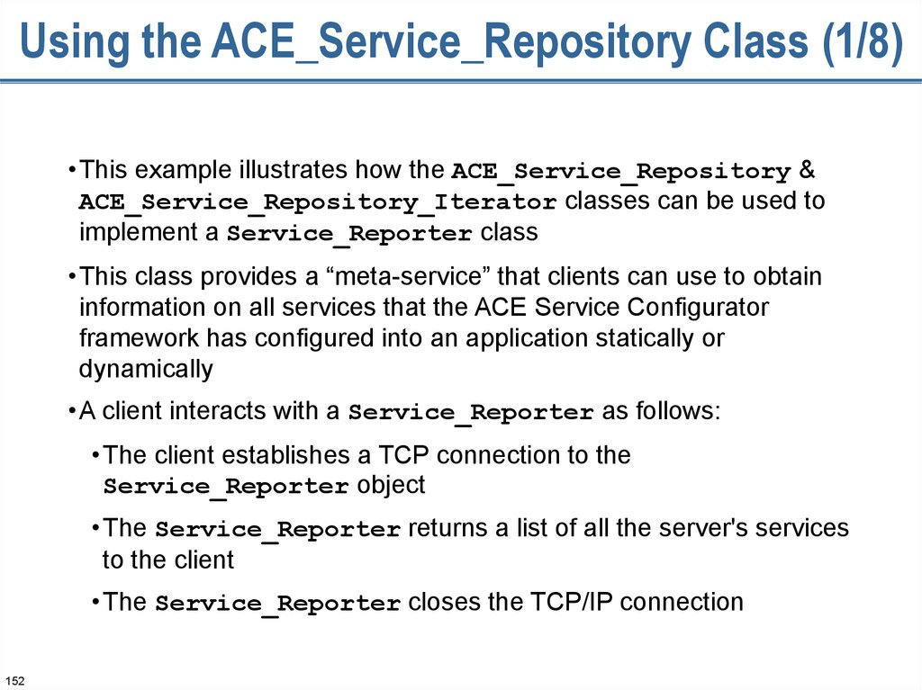 Using the ACE_Service_Repository Class (1/8)