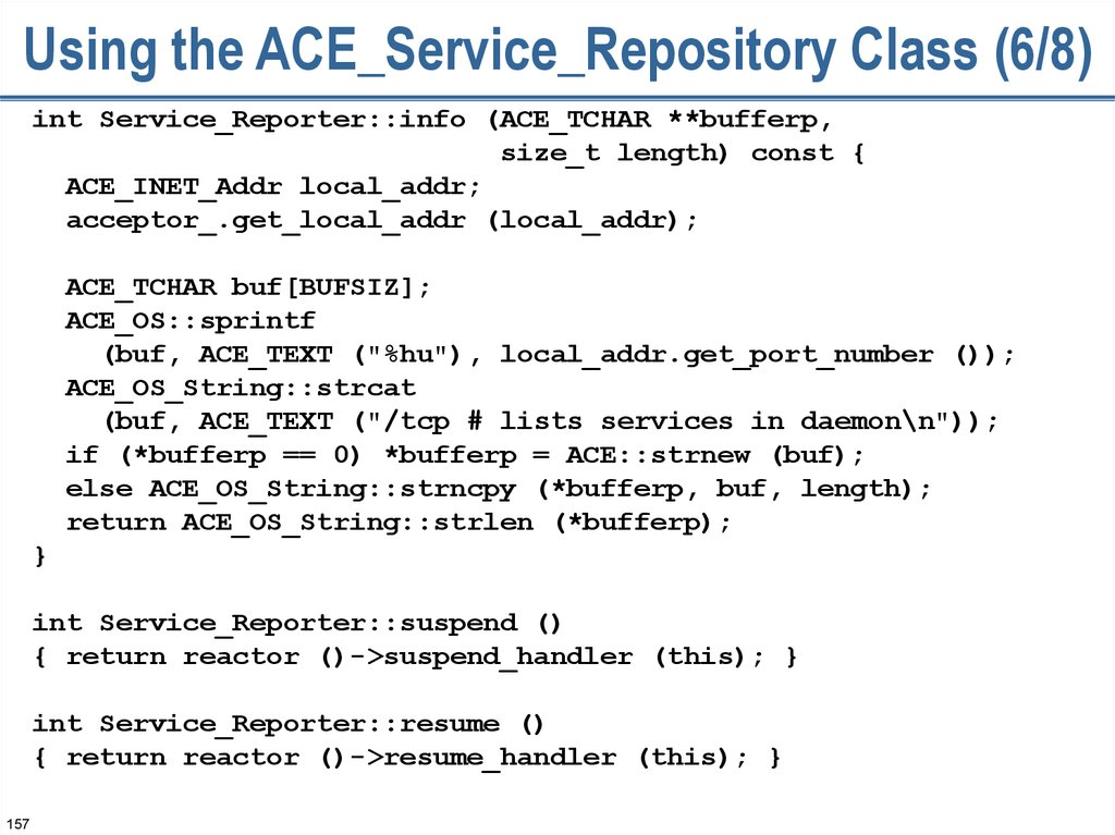 Using the ACE_Service_Repository Class (6/8)