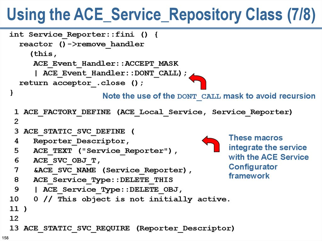 Using the ACE_Service_Repository Class (7/8)