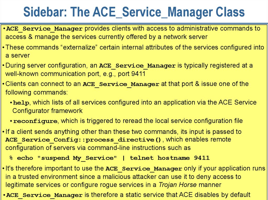 Sidebar: The ACE_Service_Manager Class