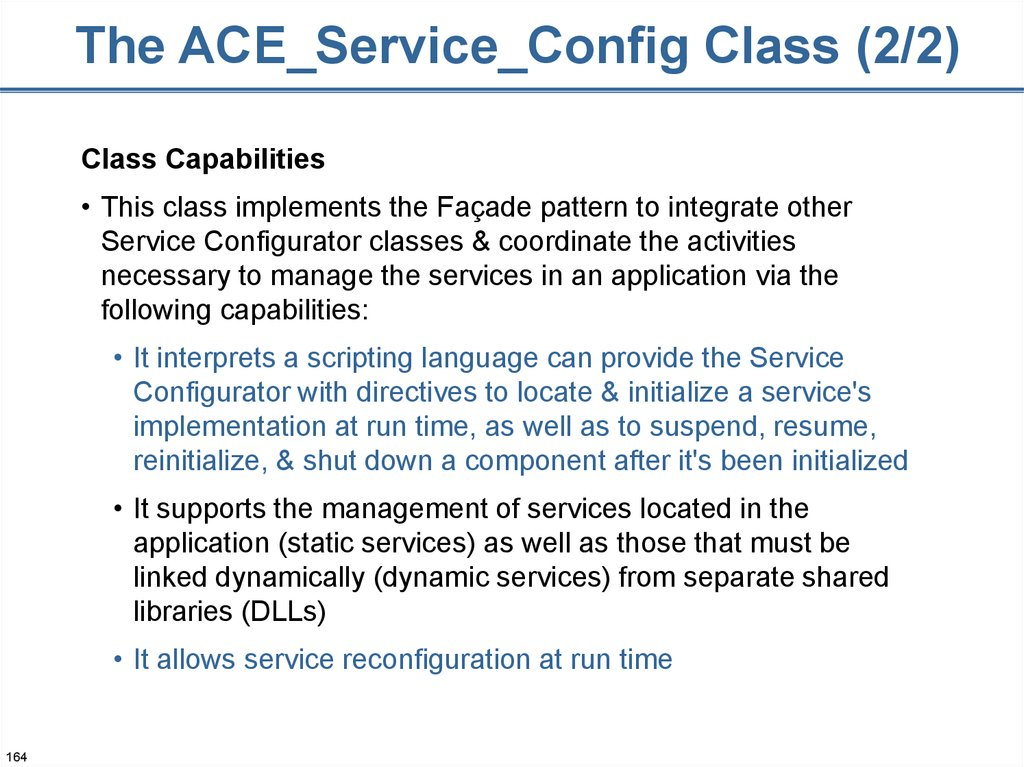 The ACE_Service_Config Class (2/2)