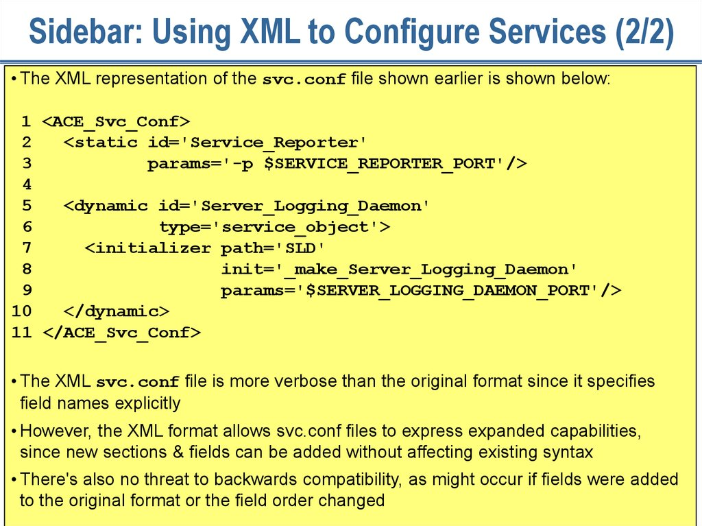 Sidebar: Using XML to Configure Services (2/2)