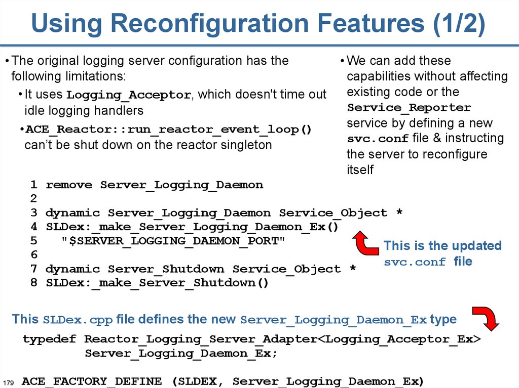 Using Reconfiguration Features (1/2)