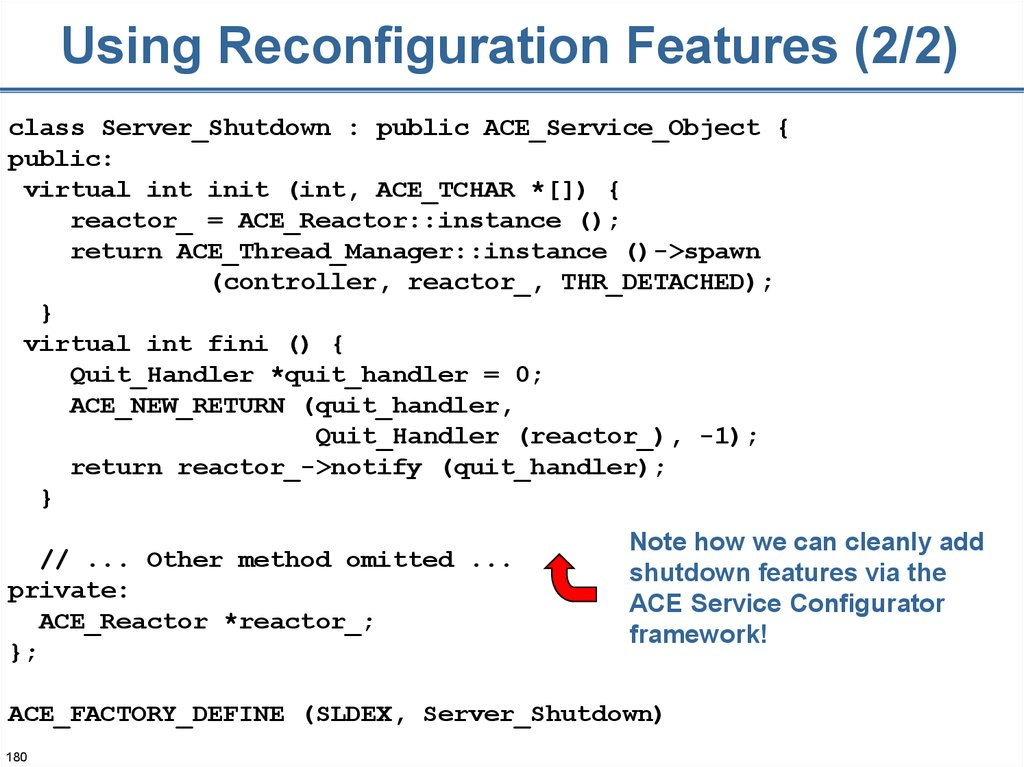 Using Reconfiguration Features (2/2)